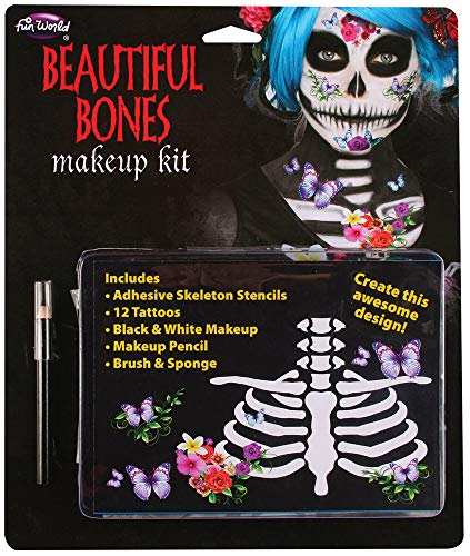 Fancy Me Damen Tag der Toten Skelett-Tattoos Make-up Halloween Gesichtsmalerei Kit Kostüm Outfit (Tag Der Toten Halloween-kostüm-make-up)