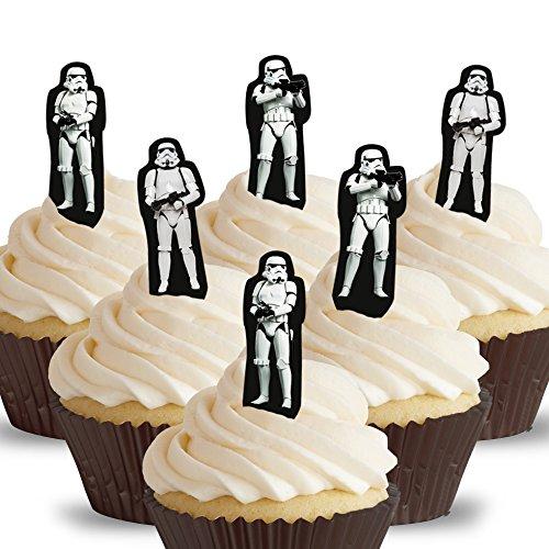 Cakeshop 12 x VORGESCHNITTENE UND ESSBARE aufstehen Star Wars Stormtrooper Kuchen topper (Tortenaufleger)
