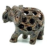 Guru-Shop Kleiner Speckstein Elefant aus Indien, 4x7x4 cm, Kleine Tierfiguren