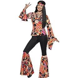 Smiffy's,costume per adulti da donna, anni '60, da hippie, top, pantaloni, foulard e medaglione, costume sballo anni '60, divertentissimo, taglia UE 44-46, 45516