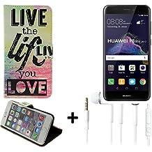 360° Funda Smartphone para Huawei P8 Lite 2017 Dual SIM, 'live the life you love' + auriculares | Wallet case flip cover caja bolsa Caso Monedero BookStyle - K-S-Trade