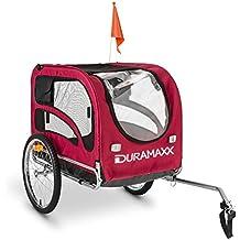 """DURAMAXX King Rex remolque para bicicletas (capacidad 250 litros, máx. 40 kg, acoplamiento fijo, neumáticos 16"""", llantas acero inoxidable, banderín, estructura nailon) - rojo"""