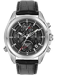 Bulova Mens Chronograph Quartz Watch with Leather Strap 96B259