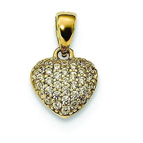 8,5mm 14Karat Gold poliert Pavé Zirkonia Herz Anhänger
