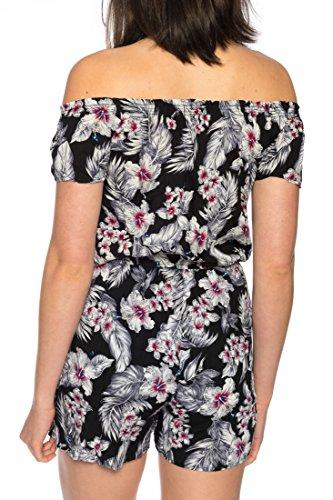 Dress Sheek Damen Jumpsuit Playsuit Sommer Luftig Gemustert Overall Kurz Schulterfrei Ärmel R263 - Schwarz