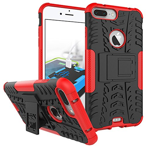 iPhone 8 Plus Heavy Duty Coque DWaybox Hybrid Rugged Armor Hard Back Housse Coque pour Apple iPhone 8 Plus 5.5 Inch Stand Coque avec Kickstand (Purple) Red