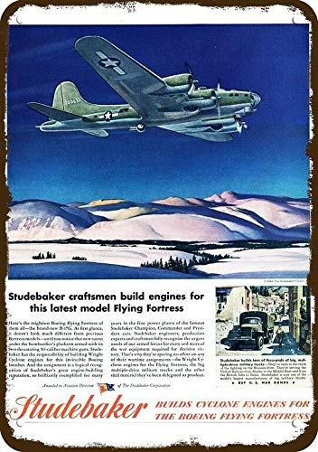 Laptopo 1944 Studebaker Vintage Look Replica Metal Sign- Boeing Flying Fortress Bomber -