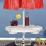 3 Stck. Tisch für Sonnenschirme, ca. 48 cm x 10 cm, Schirmtisch Getränketisch, runder Tisch für alle Sonnenschirme mit Mastdurchmesser 12 mm - 42 mm, komplett mit Kunststoff-Schirmständer, Sonnenschirmständer für Strand Sand,Schirmhülse, Bodendübel Bodenhülse Schirmhalter, Zubehör für Sonnenschirme