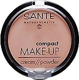 SANTE Naturkosmetik Compact Make up 02 Beige, Mittlerer Hautton, Hohe mattierende Deckkraft, Mit Spiegel & Quaste, Vegan, 9g