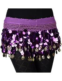 VENI MASEE®–Cinturón de lentejuelas profesional para danza del vientre, con filas de monedas y perlas múltiples, varios colores, unisex mujer, morado, talla única