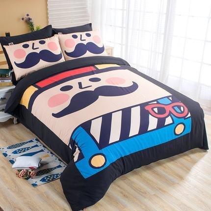 lkklily-bed Vier Stücke von Bett 3D Vier Sets von Cartoon Kinder Quilt Schleifen 1,8m, Mr. Beard, 1.8m bed skirt Passendes Twin-bettdecken