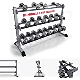 We R Sports® 3 Tier Heavy Duty Gym Dumbbell Rack Stand Holder For Hex Rubber Dumbbells Holds 10 Pairs