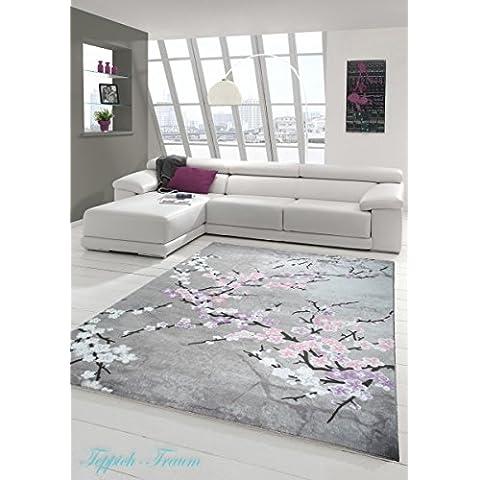 Tappeto moderno floreale Viola Rosa Grigio Cream Beige Nero (Traumteppich) Größe 200 x 290 cm