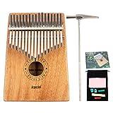 Kacai Kalimba 17 Clés Pouce Piano avec Outil de réglage Contenu partition de Kalimba pour Mbira Instrument de Pouce parfait pour un cadeau (Bois Massif de KOA/Acajou)