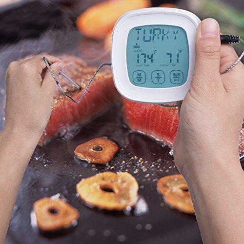 ZeWoo Küchenthermometer Ofenthermometer Digital LCD Berührungsempfindlicher Bildschirm Fleisch Haushaltsthermometer Lebensmittel Koch Thermometer mit 2 Sonde - 6