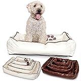Unbekannt Smoothy Hundekorb aus Leder; Hunde-Körbchen; Hundebett für Luxus Vierbeiner; Beige-Weiß Größe M (83x57cm)