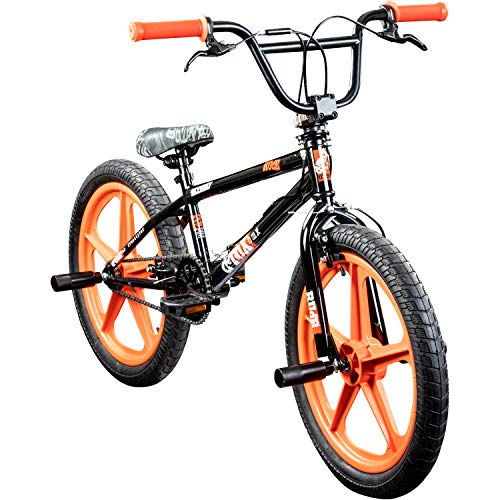deTOX BMX 20 Zoll Rude Skyway Freestyle Bike Street Park Fahrrad viele Farben (schwarz/orange)