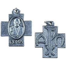 Eurofusioni Medalla Cruz Pax Papa Francisco chapeada Plata - 10 Piezas