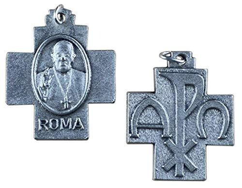 Eurofusioni Medaille Kreuz Pax Papst Franziskus - Versilbertes Metall - 10 Stück