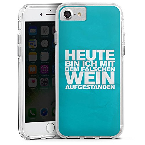 Apple iPhone 7 Bumper Hülle Bumper Case Glitzer Hülle Wine Wein Phrases Bumper Case transparent