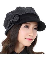 Mujer boinas de lana del casquillo del invierno Mujer otoño y del invierno ( Color : Negro , Tamaño : L )