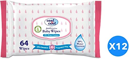 Cool & Cool Baby Wipes 99% Water Content 64'sX12