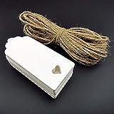 FiedFikt 100 etiquetas de papel kraft en blanco para tarjetas de recuerdo de boda,regalo,bricolaje,equipaje,precio,tienda de etiquetas en blanco con 10 m de cordel de color primario