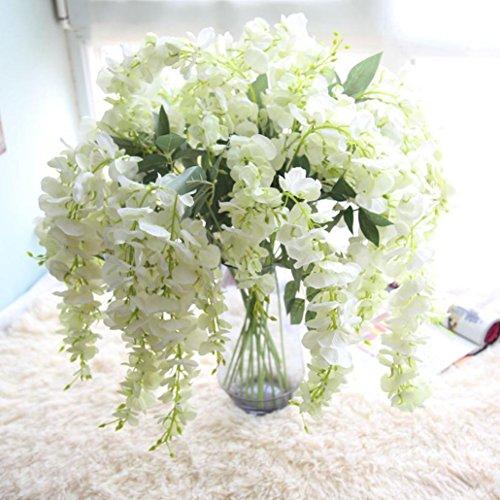Longra Wohnaccessoires & Deko Künstliche Seide Wisteria Gefälschte Garten Hängende Blumen Pflanze Rebe Hochzeit Dekor Kunstblumen (White)