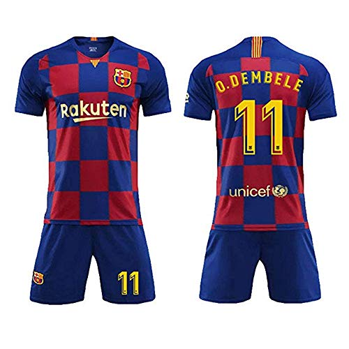 LLMM Trikot Fußball Trikot Barcelona Trikot O.Dembélé 11# Trikot Erwachsene Kinder Anzug Kurzarm + Shorts Fußball Uniform,S~(Adult~55~65kg/160~165cm) -
