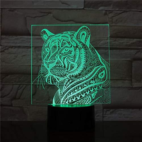 Kjfgkf @ 3D Nachtlicht Tiger 3D Lampe Touch Sensor Kind Kind Baby Geschenk Nachtlicht Tier Wohnkultur Beleuchtung Tigerkopf Led Nachtlicht