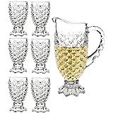 King International Crystal Glass 1 Jug (1.5 L) and Set of 6 Glass Pineapple design (250 ml) each