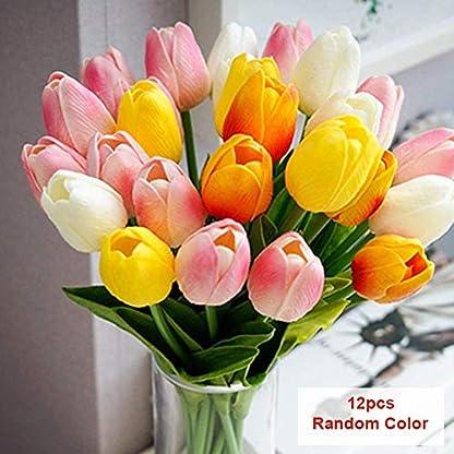 SparY Artificial Tulipanes, 12pcs Falso Flores de Tulipán Ramo – Auténtico Tulipa Ramos – para Hogar Cuarto de Estar Mesa de Comedor Adornos Boda