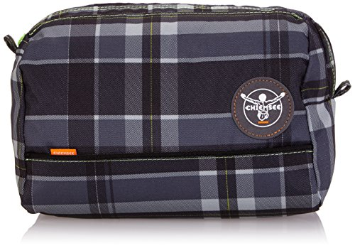 Image of Chiemsee Toiletry Bag, Handy Cool Cosmetic Bag for Everyday Use grey Plaid Black Size:26 x 20 x 15.5 cm