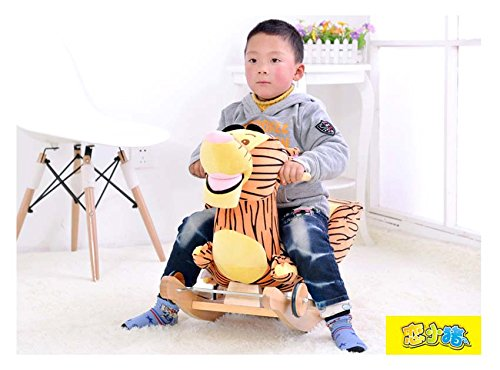 Tickles Tiger Plush Baby Rocking Chair Children Wood Swing Seat Kids Outdoor Ride on Rocking Cradle Toy 50 cm