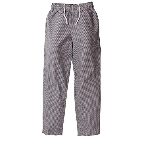 Chef Works a026-m Easy Fit Pants, a quadretti, taglia M, nero
