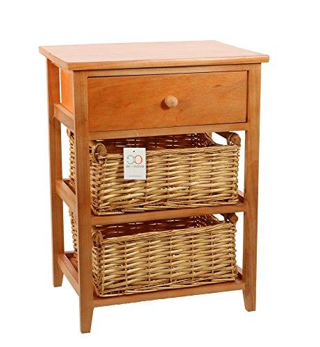 DECOMANIA-Waschtisch Stauraum Nachttisch mit 2Körben und 1Schublade-Farbe Holz braun -