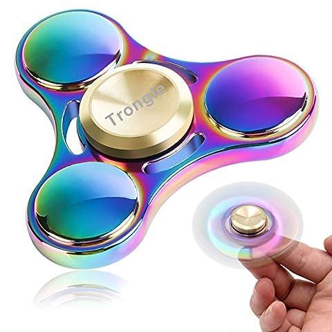 SEGURO Bunt Fidget Hand Spinner 4-6 Min Finger Spielzeug Titanlegierung Mehrfarbig Rainbow Tri-Spinner Fidget Toys EDC Focus Stress Reducer für Entlastet, Autismus, Zeit totschlagen, Entspannung