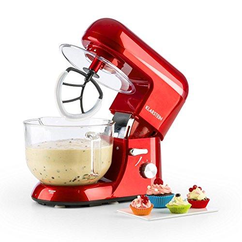 Klarstein Bella Rossa 2G - Küchenmaschine, Rührmaschine, Knetmaschine, 1200 W, 5,2 Liter, 6-stufige Geschwindigkeit, planetarisches Rührsystem, Glasschüssel, Schneebesen, rot