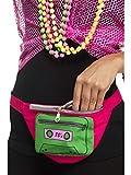 Confettery - Kostüm Accessoires Zubehör 80er Jahre Gürteltasche mit Kasetten Motiv, Geldbeutel, perfekt für Karneval, Fasching und Fastnacht, Pink