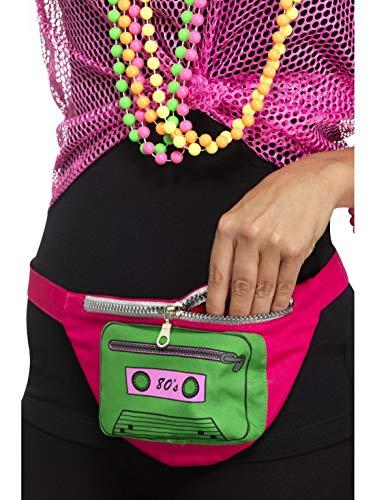 Verkleiden Einfach Kostüm - Halloweenia - Kostüm Accessoires Zubehör 80er Jahre Gürteltasche mit Kasetten Motiv, Geldbeutel, perfekt für Karneval, Fasching und Fastnacht, Pink