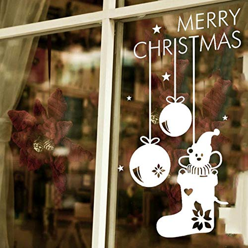 Wandaufkleber Frohe Weihnachten Socken Bär Shop Wandaufkleber Glas Raumdekorationen Diy Vinyl Geschenk Abziehbilder Festival Kunst Poster -