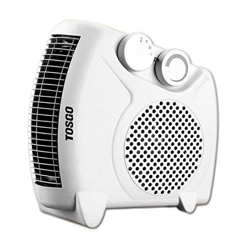 [TO-CA1180V] TOSGO Calefactor Vertical de Aire Caliente con Termostato Regulable. Función de Aire Caliente o Ventilador Temperatura Ambiente. 2000w. Color Blanco.