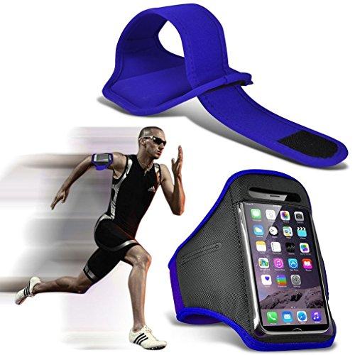 I-Sonite (Blue) Justierbarer Sweatproof/Wasser-beständiger Sport-Eignungs-Laufender Turnhallen-Armband-Telefon-Fall für ASUS ZenFone 3 Deluxe SD821 [ XXL ] Deluxe Armband Fall