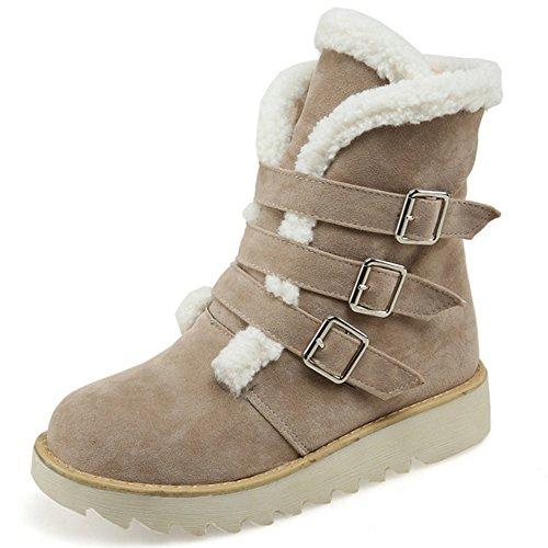 COOLCEPT Damen warme Wildleder kurze Plüsch Schneeschuhe Winter Knöchel Martin Stiefel mit Schnallenriemen Beige