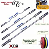 Olympic Bar 4ft 5ft 6ft 7ft Straight Curl Barbell Bar 2 Inch 5cm Dumbbell With Spring Lock Collars...