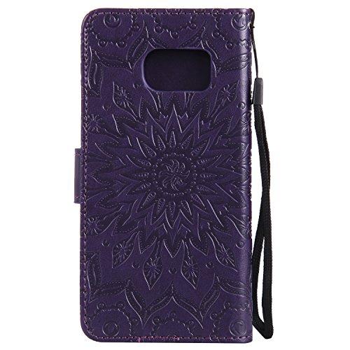 Custodia Galaxy S7, Dfly Premium PU Goffratura Mandala Design Pelle Chiusura Magnetica Protettiva Portafoglio Custodia Super Sottile Flip Cover per Samsung Galaxy S7, Blu porpora