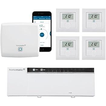 Homematic IP FUNK Fußbodenheizungssteuerung zur Einzelraumregelung in 4 Räumen. Beinhaltet: Zentrale, 4 Funk Wandthermostate und 1 x 230-Volt Funk Aktor. Lieferung mit kostenloser Smartphone App.
