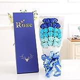 Herramienta para el cuidado de la salud flores artificiales para boda decoración, decoración para el hogar, regalo para el día de la madre, día del padre creativo regalos San Valentín ramilletes de rosas de jabón regalo de Navidad regalo de cumpleaños, ramo de flores 33blue-4colores