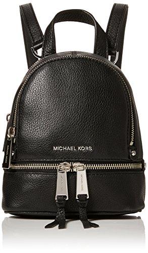 Michael Kors Damen Rhea Zip Rucksackhandtasche, Schwarz (Black), 9x18x20 centimeters (Kors Michael Silber Tasche)