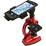 Smart Phone Adaptable Long-Lasting Metal 100X - 900X Microscope with Hard Plastic Carrying Case